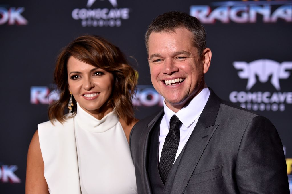 Matt Damon and Luciana Barroso arrive at the Premiere Of Disney And Marvel