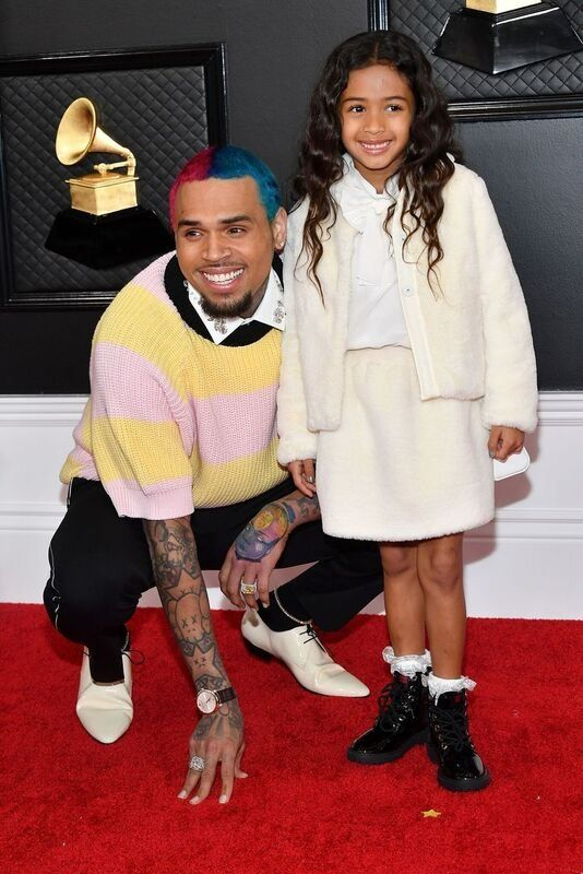 Chris Brown è stato tutto sorrisi con la figlia Royalty ai Grammy 2020