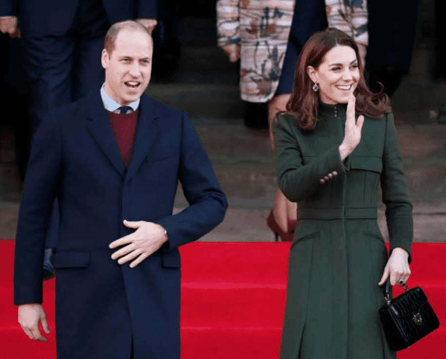 Prince William and Kate Middleton wave at crowds as they leave City Hall in Bradford